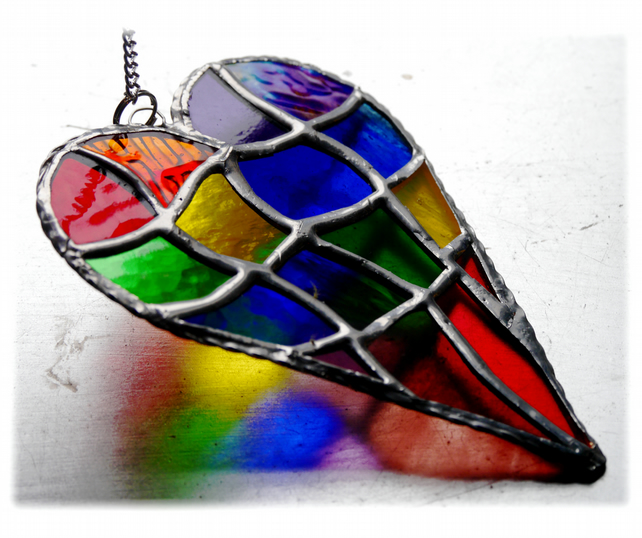 Patchwork Heart Suncatcher Stained Glass Handmade Rainbow 030