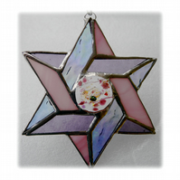 Star of David (Magen David) Suncatcher Stained Glass Pink Pastel