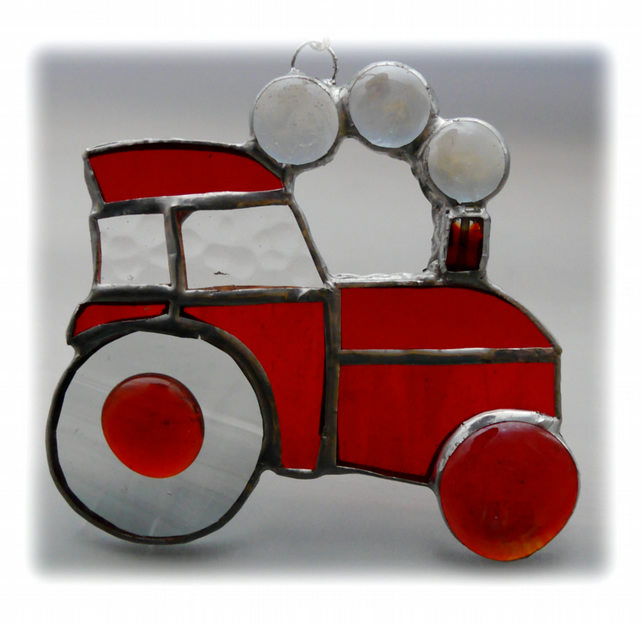 Tractor Suncatcher Stained Glass Red Handmade 040