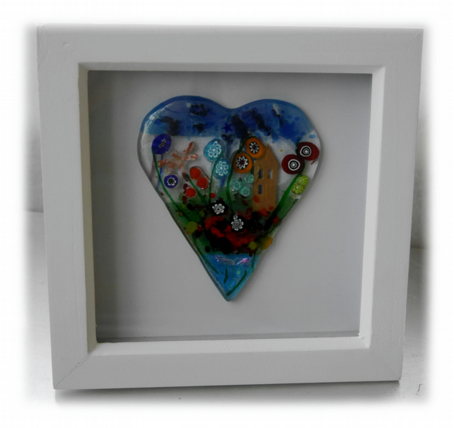 Flower Garden Heart in Box Frame Fused Glass Picture 008 Right House