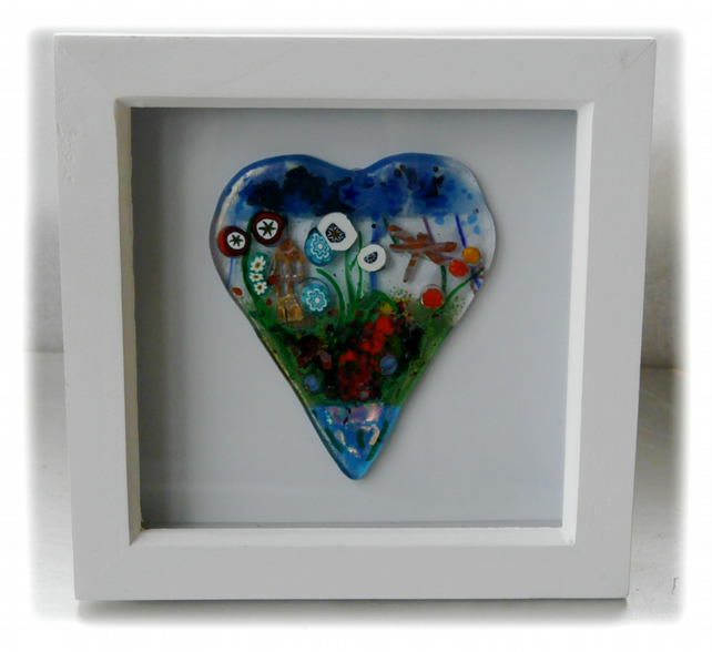 Flower Garden Heart in Box Frame Fused Glass Picture 007 Left House