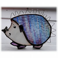 Hedgehog Suncatcher Stained Glass Handmade 035 Left