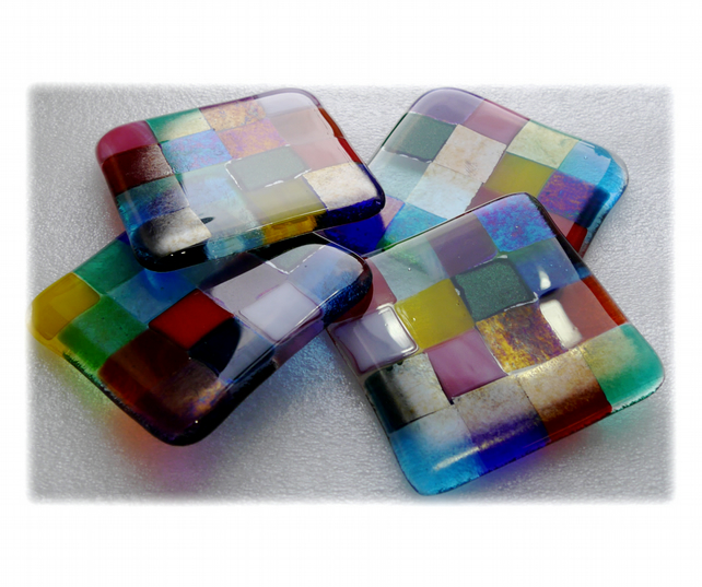 Fused Glass Coaster 8cm Rainbow patchwork Y1