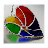 Rainbow Swirl Heart Stained Glass Suncatcher 016