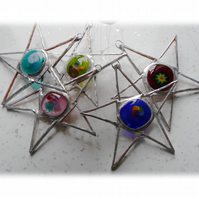 Fused Nugget Star Stained Glass suncatcher Christmas Tree decoration