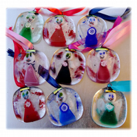 Fused Glass Christmas Tree Decorations Set of 4 Angels or Stars