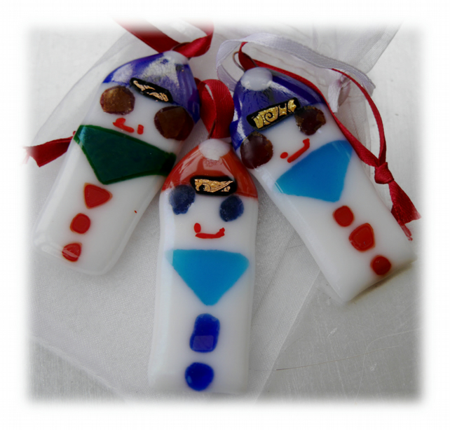Snowmen Fused Glass ChristmasTree Decorations Set of 3