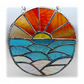 Sunset Ocean Waves Stained Glass Suncatcher 007