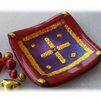 Fused Glass Trinket Dish 8.5cm Deep Red Gold Bordered Dichroic 028