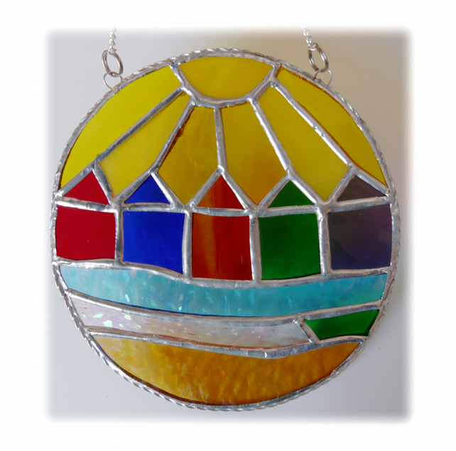 Beach Hut Ring Stained Glass Handmade Sunshine 004