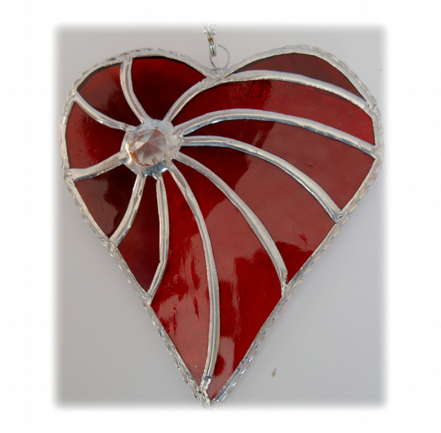 Swirled Heart Stained Glass Suncatcher 003