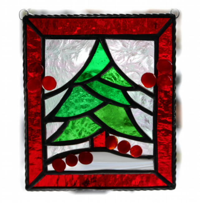 Reduced - Christmas Tree Stained Glass Framed Suncatcher 004