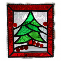 Reduced - Christmas Tree Stained Glass Framed Suncatcher 004 25% off