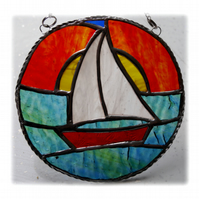 Sailboat Sun Stained Glass Suncatcher Handmade Ring 005