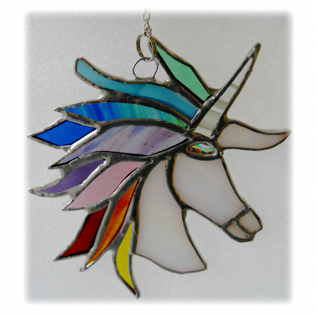 Unicorn Suncatcher Stained Glass Handmade Rainbow 010  Cristabel