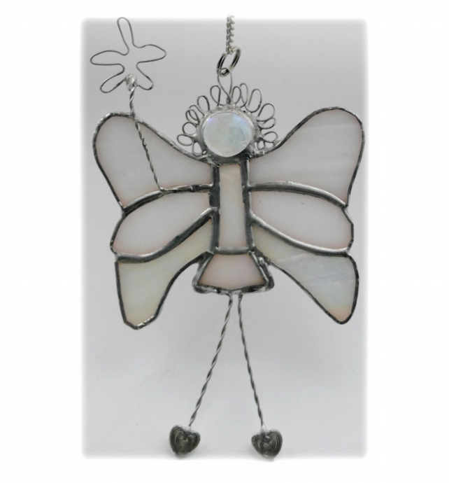 Fairy Angel Suncatcher Stained Glass white Christmas 019