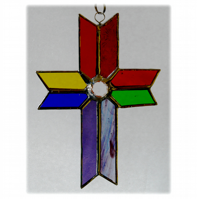 Cross Suncatcher Stained Glass Handmade Rainbow Crystal 046