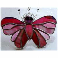 Cranberry Butterfly Suncatcher Stained Glass Handmade 088
