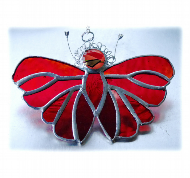 Red Butterfly Suncatcher Stained Glass Handmade 089 Amber