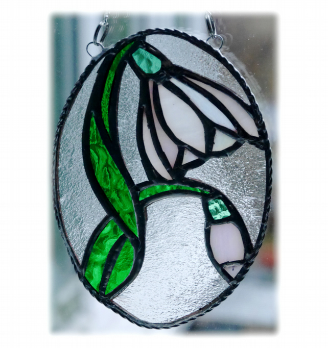 Snowdrop Stained Glass Suncatcher Flower 021