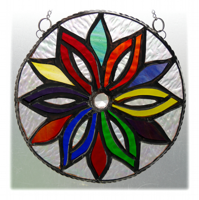 Firework Manadala Stained Glass Suncatcher Rainbow Handmade