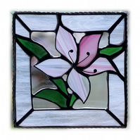 Lily Stained Glass Suncatcher Pink Framed 014