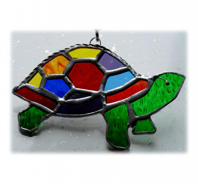 Tortoise Suncatcher Stained Glass Handmade Rainbow 021 Turtle