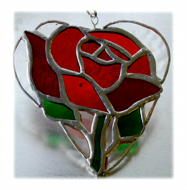 Red Rose Heart Suncatcher Stained Glass 014