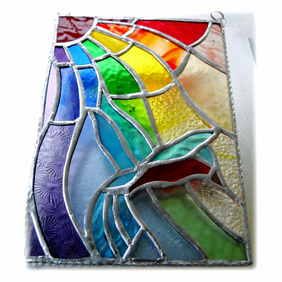 Kingfisher Rainbow Panel Stained Glass Suncatcher 015