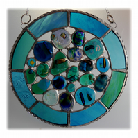 Rockpool Suncatcher Stained Glass Abstract Handmade fused 015