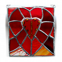 Patchwork Fused Heart Plaque Stained Glass Handmade Dichroic Reds