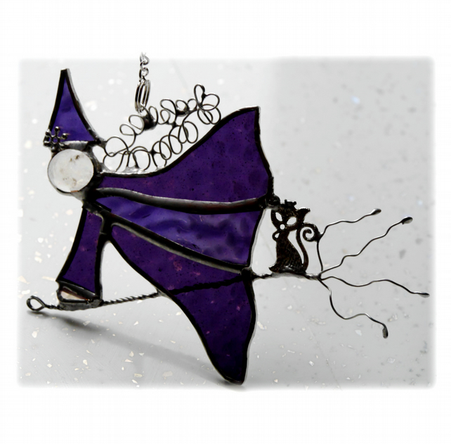 Witch on Broomstick Suncatcher Stained Glass Purple