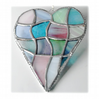 Patchwork Heart Suncatcher Stained Glass Handmade Pastel 032