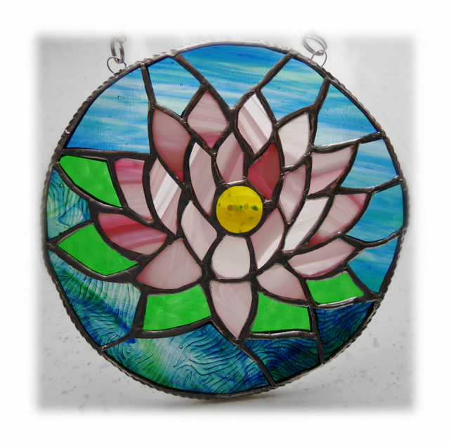 Waterlily Suncatcher Stained Glass 005 Pink