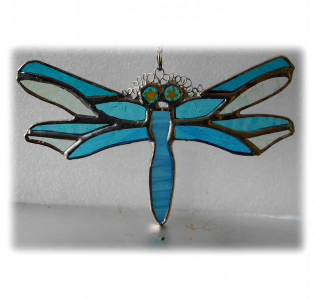 Dragonfly Suncatcher Turquoise Handmade Stained Glass 045