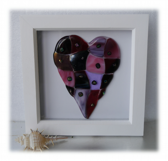RESERVED Patchwork Heart in Box Frame Fused Glass Picture