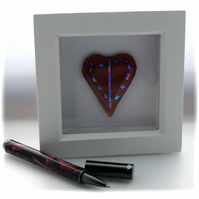 Mini Dichroic Heart in Box Frame Fused Glass Picture 001