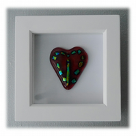 Mini Dichroic Heart in Box Frame Fused Glass Picture 002