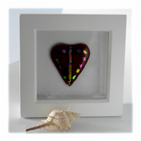 Mini Dichroic Heart in Box Frame Fused Glass Picture 003