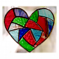 Fat Patchwork Heart Suncatcher Stained Glass Handmade