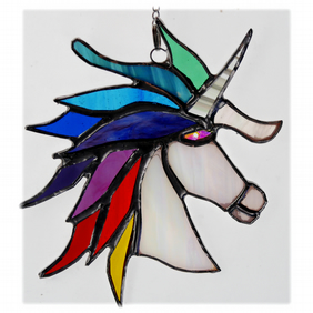 Unicorn Suncatcher Stained Glass Handmade Rainbow 011 Melody