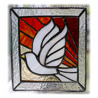 Sunset Dove Stained Glass Picture Suncatcher Handmade 006