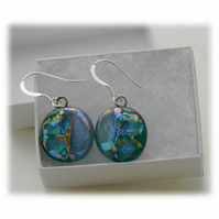 Handmade Fused Dichroic Glass Earrings 173 Emerald Shimmer