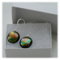 Handmade Fused Dichroic Glass Earrings 178 Green Bronze Marble