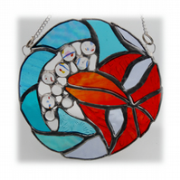 Goldfish Suncatcher Stained Glass Fish in a  Bowl Handmade 006