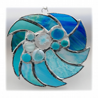 WhirlPool Suncatcher Stained Glass British Handmade Waves Sea Abstract