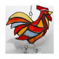 Cockerel Suncatcher Stained Glass chicken 024