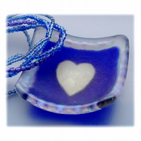 RESERVED Earring Ring Dish Fused Glass 6.5cm Blue Deep Heart Dichroic