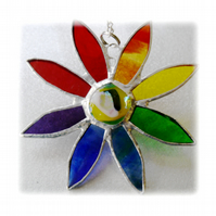 Rainbow Daisy Suncatcher Stained Glass Flower Dichroic 021