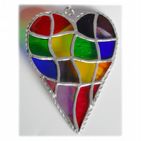 Patchwork Heart Suncatcher Stained Glass Handmade Rainbow 033